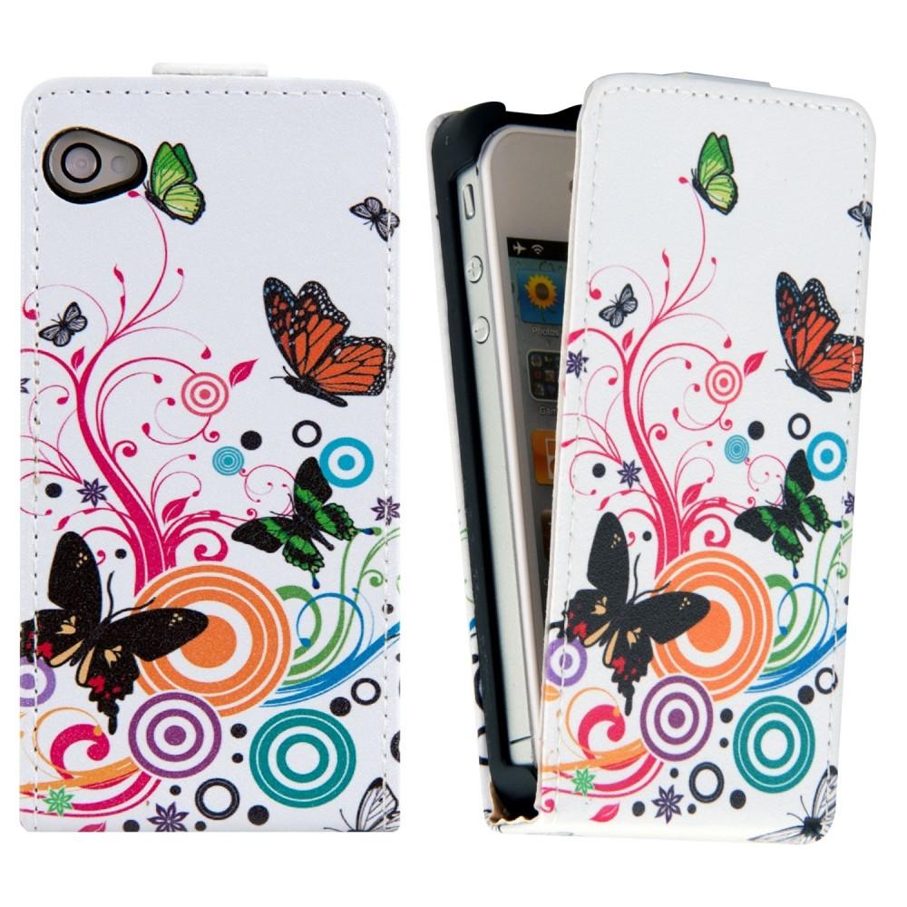 Predné flipové púzdro s dizajnom motýľ pre Apple iPhone 4   4S - viacfarebná 727a98f88fa