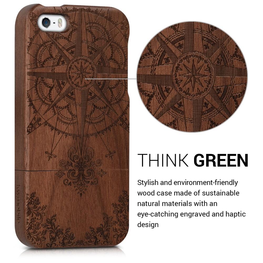 Dřevěné pouzdro s designem baroko pro Apple iPhone SE - tmavě hnědá 8185bb75879