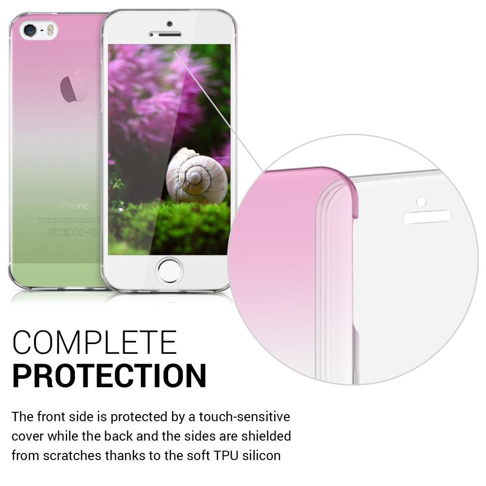 Průhledný oboustranný kryt pro Apple iPhone SE - růžová 8189734db24